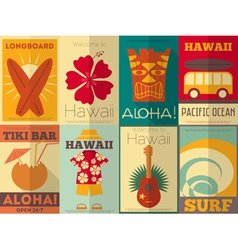 Hawaii Surf Retro Posters vector