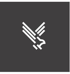 Hawk of a bird in flight linear style vector