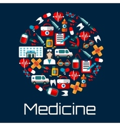 Healthcare and hospital emergency flat icons vector image vector image