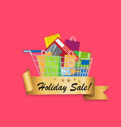 holiday sale banner cart full of shopping bags vector image vector image