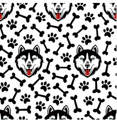 Husky dog black and white seamless pattern vector