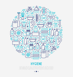 hygiene concept in circle with thin line icons vector image
