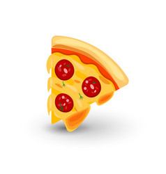 Icon of pizza with sausage of vector