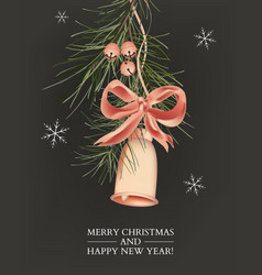jingle bells christmas card with pine branch vector image