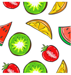 Juicy fruits pattern collection stock vector