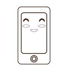 kawaii smartphone device vector image
