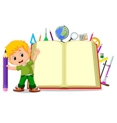 kids with a big book vector image vector image