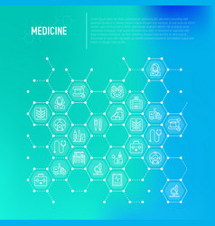 medicine concept in honeycombs with thin line icon vector image