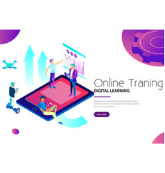 men using modern gadgets for online training vector image
