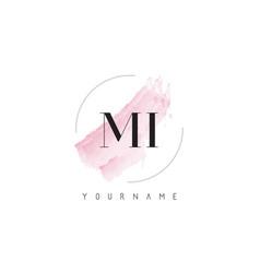 mi m i watercolor letter logo design with vector image
