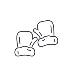 mittens line icon concept mittens linear vector image