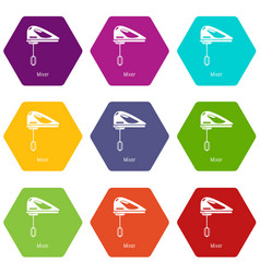 mixer kitchen icons set 9 vector image