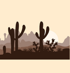 Morning landscape with saguaro cacti prickly pear vector