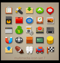 multimedia icon set-7 vector image