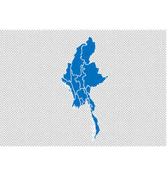 Myanmar map - high detailed blue map with vector
