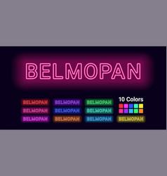 Neon name of belmopan city vector