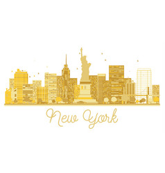 new york city skyline golden silhouette vector image