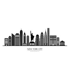 new york city skyline silhouette flat design vector image