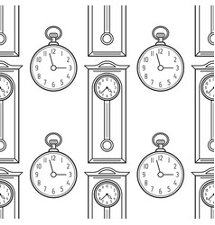 Pocket watches and grandfather clock flat linear vector