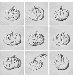Pumpkin icons with scary faces vector