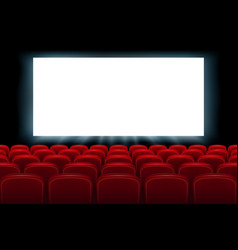 Realistic cinema hall interior with red seats vector