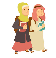 Saudi arab muslim boy and girl kids going vector