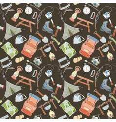 Seamless camping pattern vector image