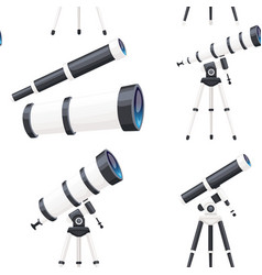 seamless pattern white telescopes with stands vector image