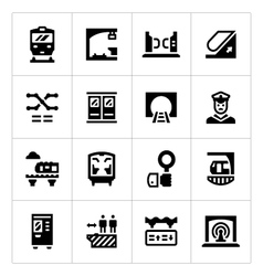 Set icons of subway vector image