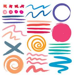set of brush stroke colorful ink grunge vector image