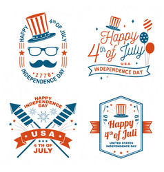 set vintage 4th july design in retro style vector image