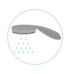 Shower head with water drops vector image