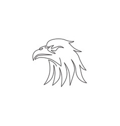 single continuous line drawing heroic eagle vector image