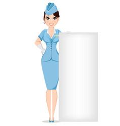 stewardess in professional uniform cute smiling vector image