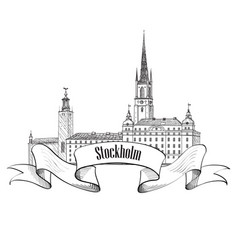 Stockholm city label isolated travel sweden vector