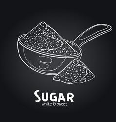 Sugar powder in metallic spoon outline vector