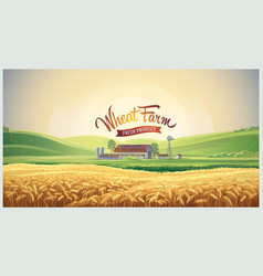 summer rural landscape with wheat field and farm vector image