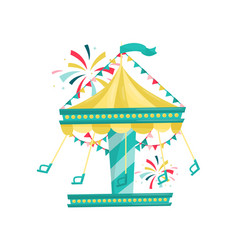 swinging carousel with chairs decorated with vector image