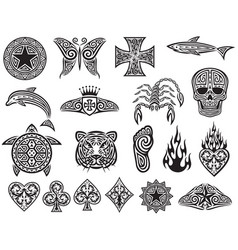 tattoo tribal icons set - design elements vector image