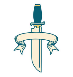 Tattoo with banner knife vector