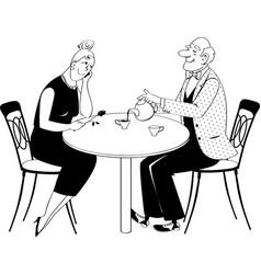 teatime bw vector image