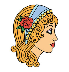 Traditional tattoo a gypsy head vector