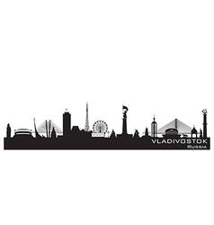 Vladivostok Russia city skyline Detailed silhouett vector image