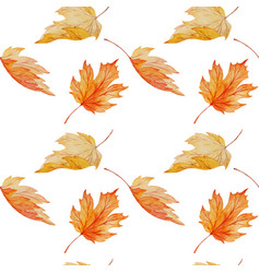 Watercolor maple leaves seamless pattern vector