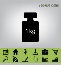 weight simple sign black icon at gray vector image