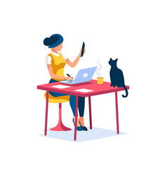 Woman working at home concept vector