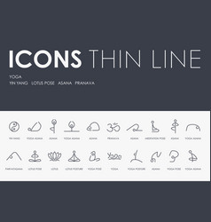 yoga thin line icons vector image