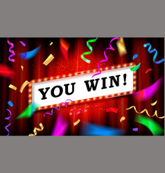 you win text over color vector image