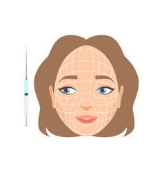 young woman face with massage lines girl having vector image