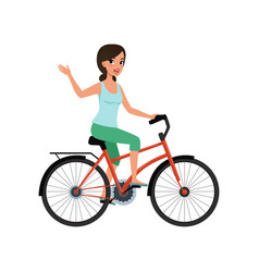 young woman riding a bike and waving her hand vector image